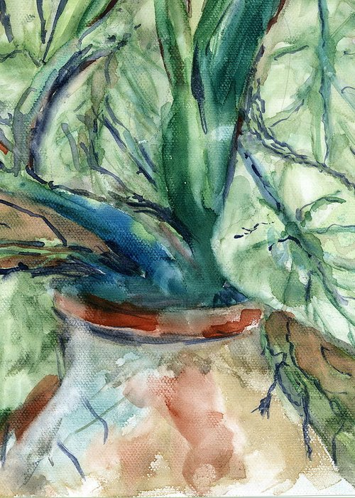 Plant Greeting Card featuring the painting Organic by Marilyn Barton
