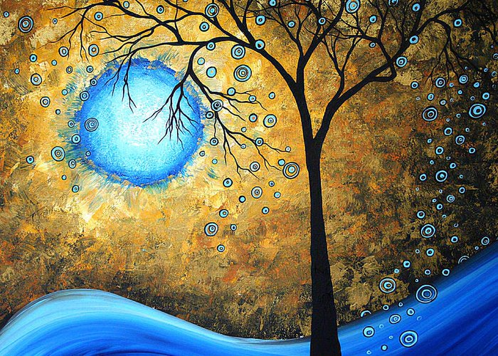 Abstract Greeting Card featuring the painting Orginal Abstract Landscape Painting Blue Fire By Madart by Megan Duncanson