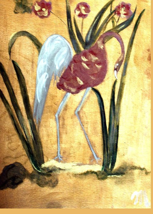 Wildlife Greeting Card featuring the painting Oriental Crane by Michela Akers