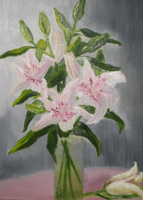 Oil Greeting Card featuring the painting Oriental Lilies In White And Pink by A T