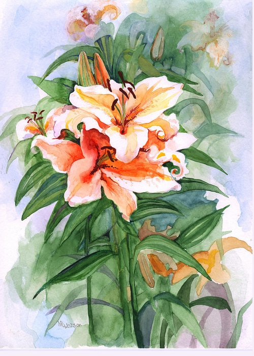 Lily Greeting Card featuring the painting Oriental Lilies by Nancy Watson