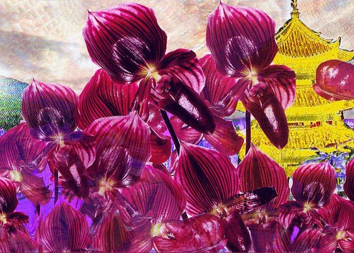 Far East Greeting Card featuring the digital art Oriental Orchid Garden by Seth Weaver