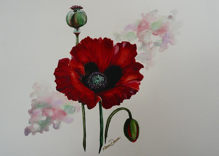 Floral Poppy Red Flower Greeting Card featuring the painting Oriental Poppy by Karin Dawn Kelshall- Best