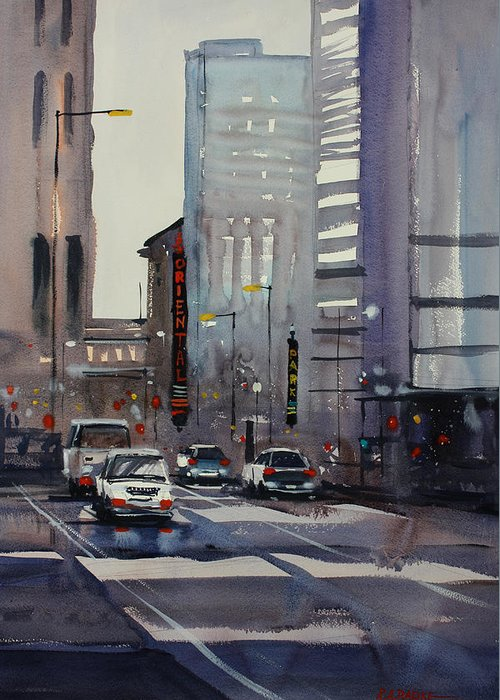 Ryan Radke Greeting Card featuring the painting Oriental Theater - Chicago by Ryan Radke
