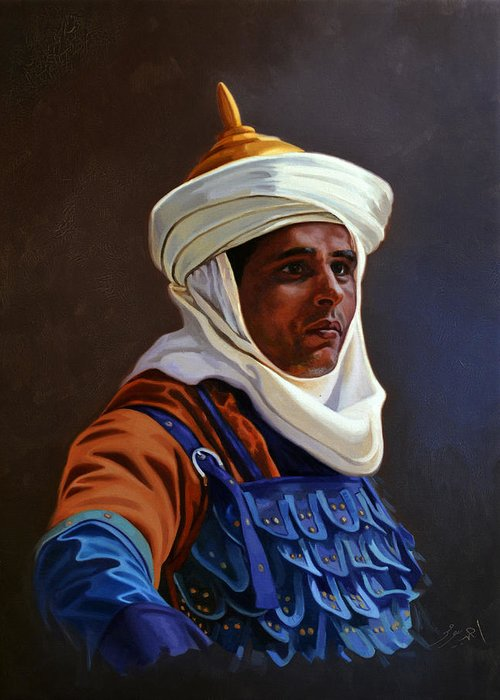 Orientalist Greeting Card featuring the painting Orientalist 01 by Ahmed Bayomi
