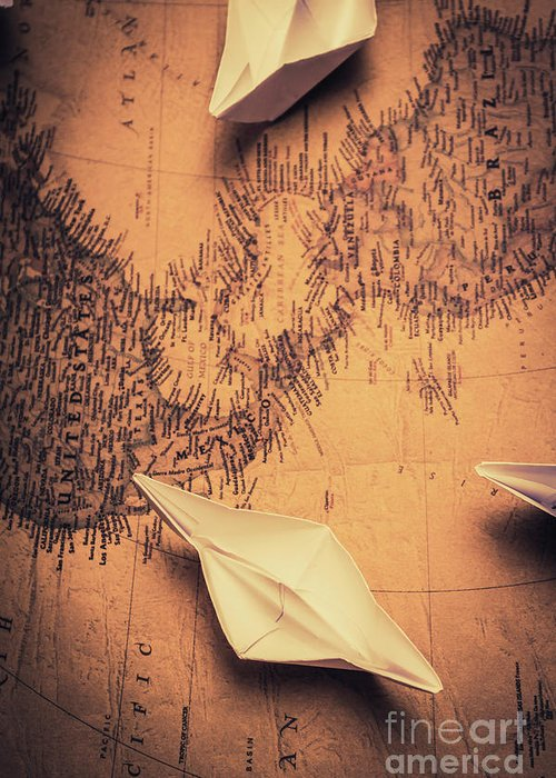 Journey Greeting Card featuring the photograph Origami Boats On World Map by Jorgo Photography - Wall Art Gallery