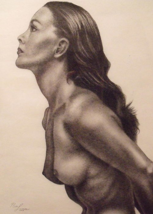 Original Charcoal Nude Female Profile Study Greeting Card -6727