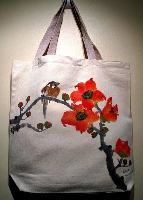 Original Hand-painted Tote Bags Greeting Card featuring the painting Original Hand-painted Totebag by Anita Lau