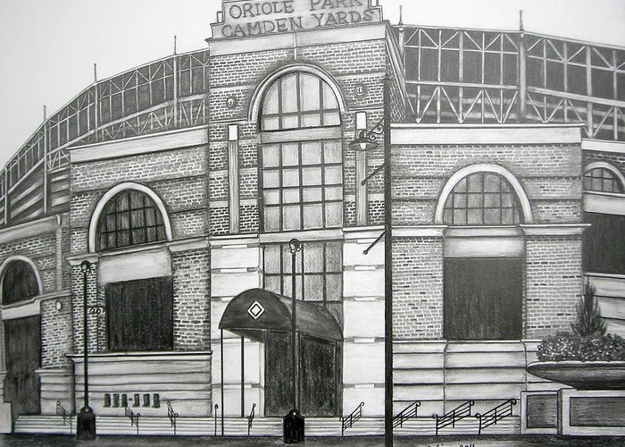 Camden Yards Greeting Card featuring the drawing Oriole Park Camden Yards by Juliana Dube