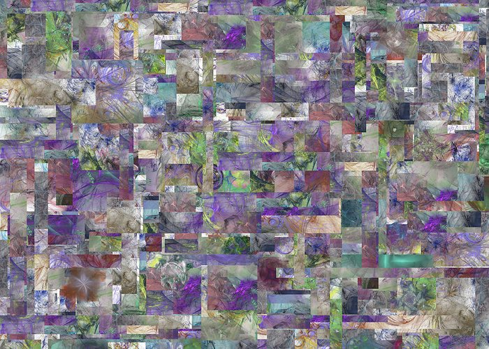 Abstract Greeting Card featuring the digital art Orion's Quilt by Betsy Knapp
