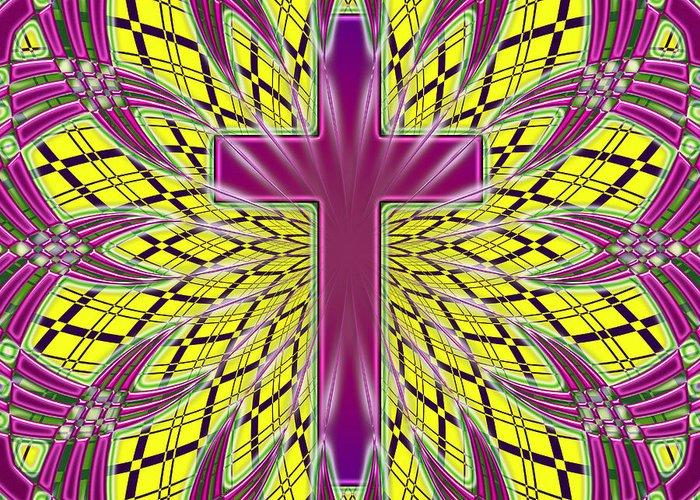 Greeting Card featuring the digital art Ornamental Cross by David G Paul