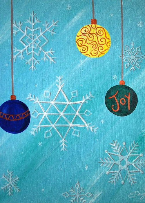 Ornaments Greeting Card featuring the painting Ornaments And Snowflakes by Emily Page