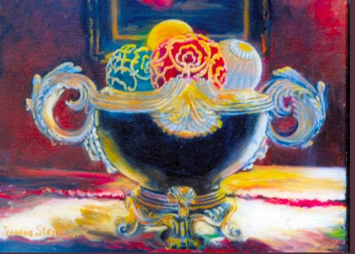 Black Ornate Bowl Greeting Card featuring the painting Ornate Black Bowl by Jeanene Stein