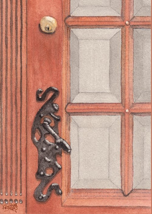 Handle Greeting Card featuring the painting Ornate Door Handle by Ken Powers