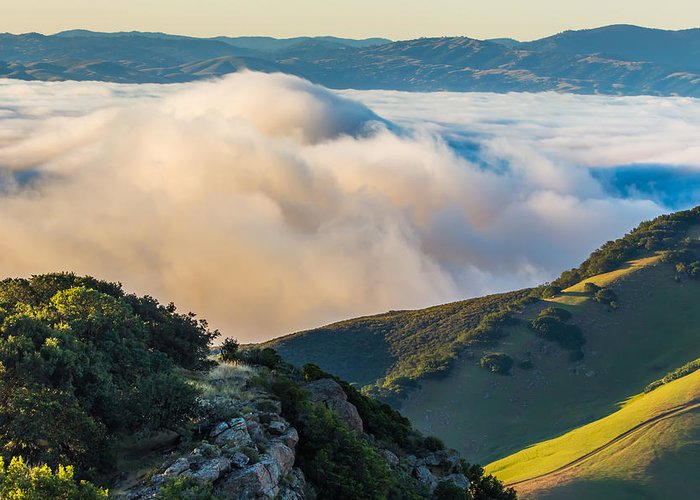 Landscape Greeting Card featuring the photograph Morning Low Clouds And Hills by Marc Crumpler