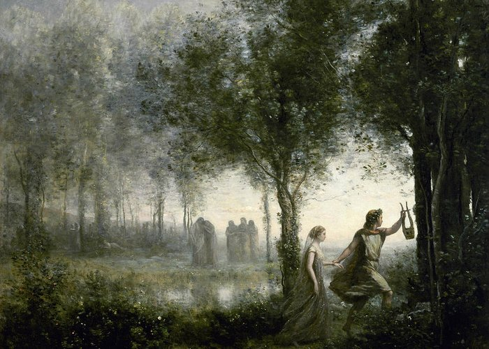 Jean-baptiste-camille Corot Greeting Card featuring the painting Orpheus Leading Eurydice From The Underworld by Jean-Baptiste-Camille Corot