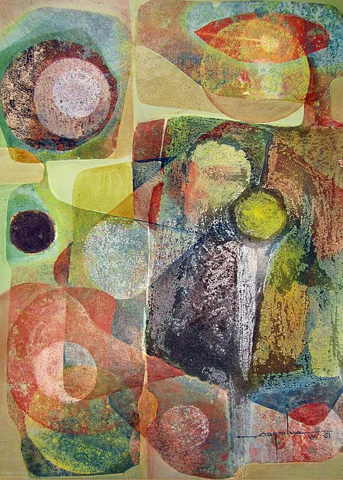 Abstract Greeting Card featuring the painting Os1961dc002bo Abstract Landscape Potosi 17x22.25 by Alfredo Da Silva