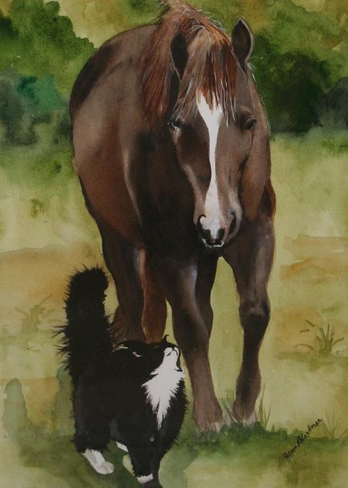 Horse Greeting Card featuring the painting Oscar And Friend by Jean Blackmer