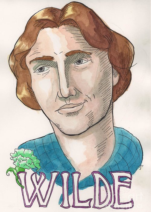 Oscar Wilde Greeting Card featuring the painting Oscar Wilde by Whitney Morton