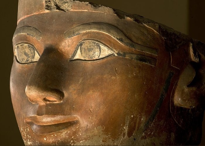 Indoors Greeting Card featuring the photograph Osiris Statue Face Of Hatshepsut by Kenneth Garrett