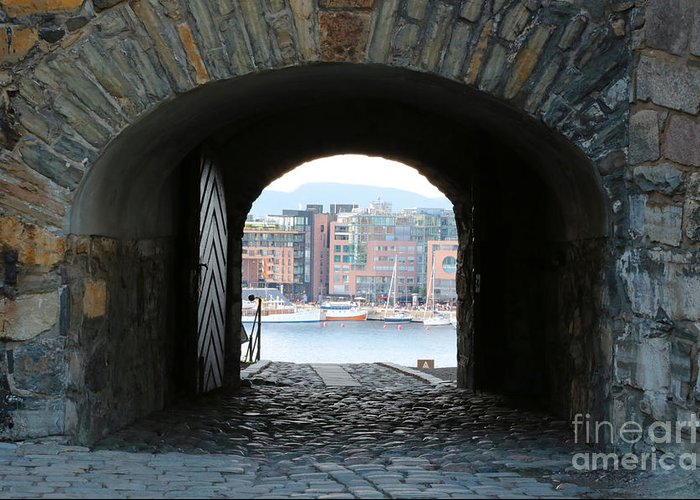 Oslo Greeting Card featuring the photograph Oslo Castle Archway by Carol Groenen