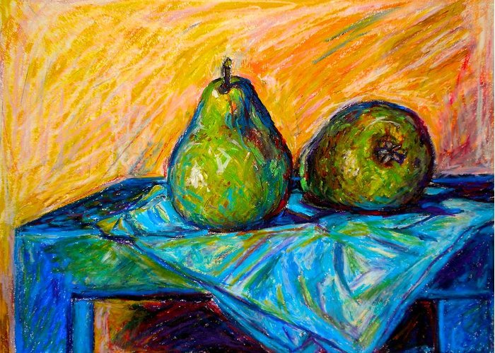 Still Life Greeting Card featuring the painting Other Pears by Kendall Kessler