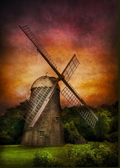 Hdr Greeting Card featuring the photograph Other - Windmill by Mike Savad