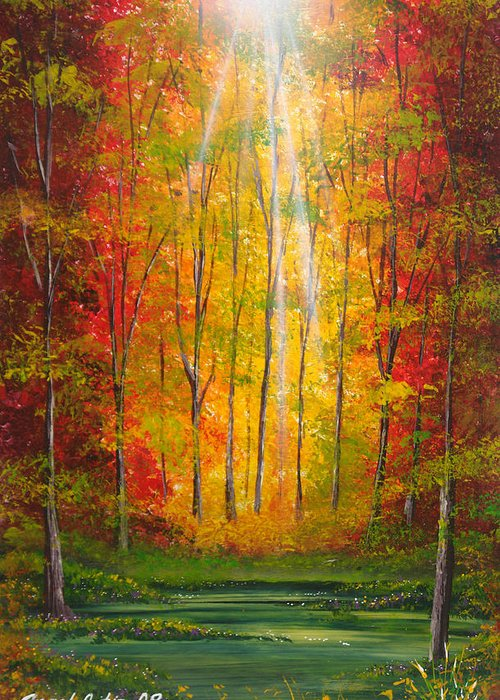 Woods Greeting Card featuring the painting Oton Al by Angel Ortiz