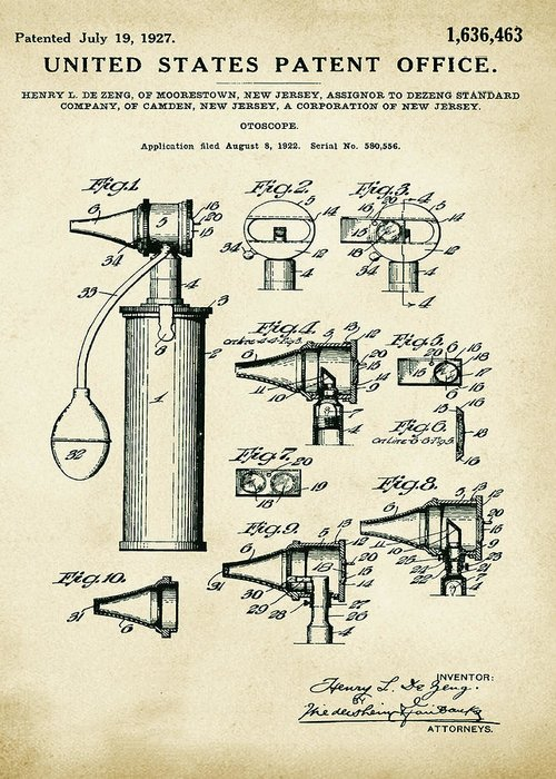 Otoscope Greeting Card featuring the digital art Otoscope Patent 1927 Old Style by Bill Cannon