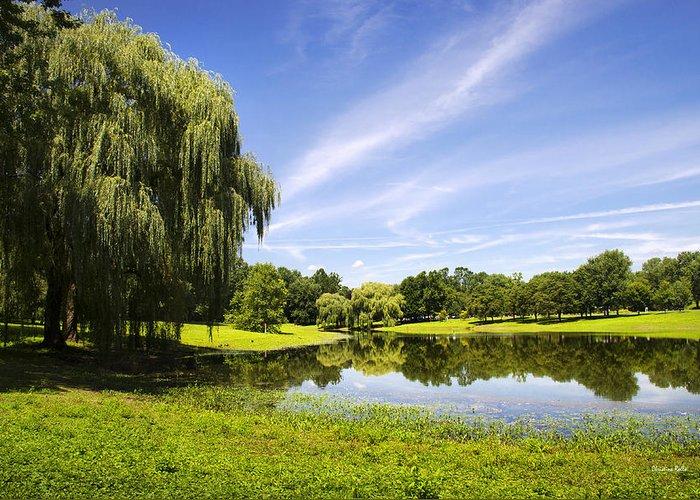 Binghamton Greeting Card featuring the photograph Otsiningo Park Reflection Landscape by Christina Rollo