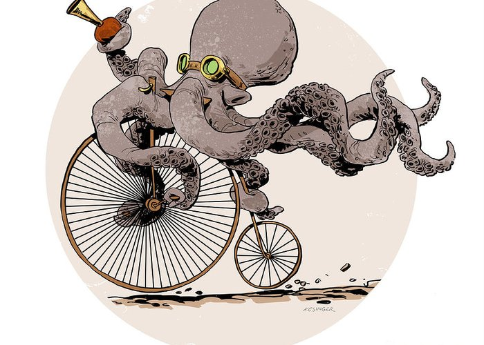 Octopus Greeting Card featuring the digital art Otto's Sweet Ride by Brian Kesinger
