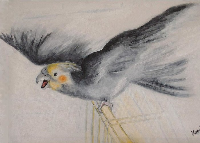 Cockatiel.pet Greeting Card featuring the painting our cockatiel Coco by Helmut Rottler