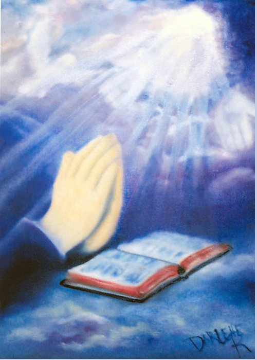Prayer Greeting Card featuring the painting Our Daily Bread by Darlene Green