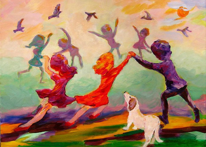 Children Greeting Card featuring the painting Our Dancing Children by Naomi Gerrard