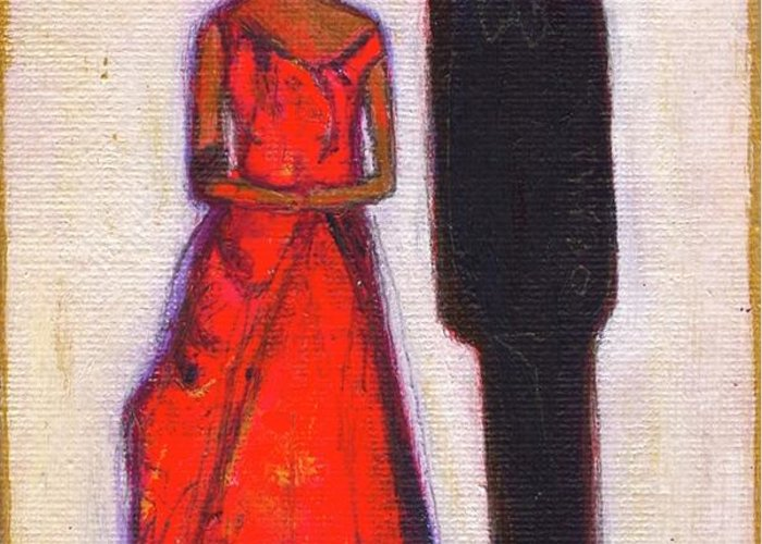 Girl Greeting Card featuring the painting Our First Lady In Red Her Husband Is Black by Ricky Sencion