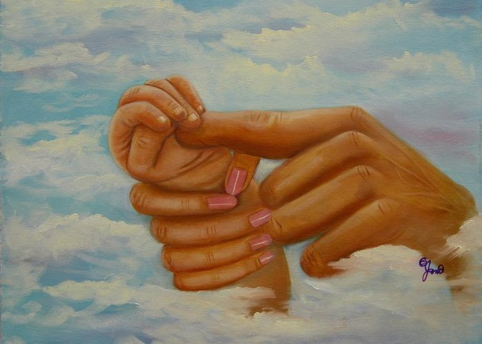 Family Greeting Card featuring the painting Our Hands by Joni McPherson