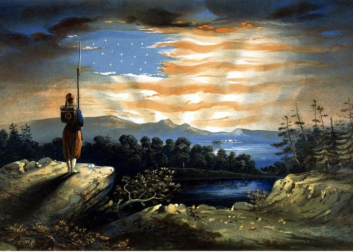 Civil War Greeting Card featuring the painting Our Heaven Born Banner by War Is Hell Store
