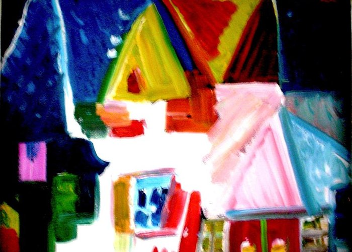 House Greeting Card featuring the painting Our House Is A Very Very Very Fine House by Laura Grisham