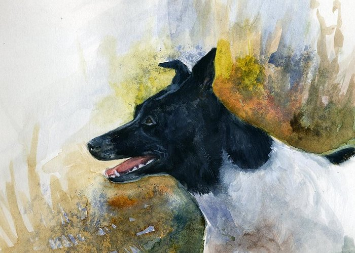 Animal Greeting Card featuring the painting Our Jack by Jimmie Trotter