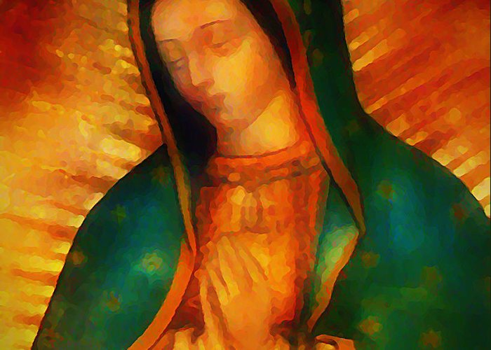 Virgin Greeting Card featuring the digital art Our Lady Of Guadalupe by Bill Cannon