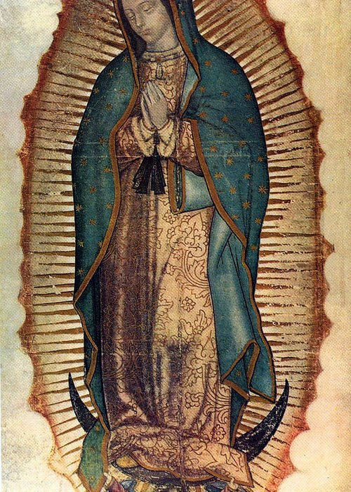 Guadalope Greeting Card featuring the painting Our Lady Of Guadalupe by Pam Neilands