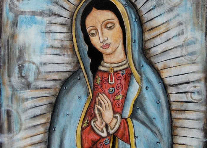 Folk Art Paintings Greeting Card featuring the painting Our Lady Of Guadalupe by Rain Ririn