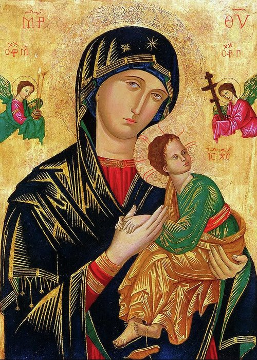 Our Greeting Card featuring the painting Our Lady of Perpetual Help Icon by Magdalena Walulik