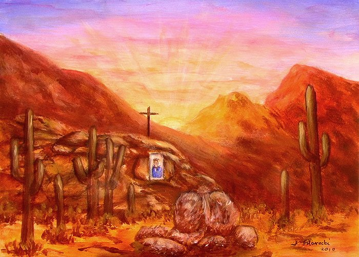 Southwest Art Greeting Card featuring the painting Our Lady of the Desert by Judy Filarecki