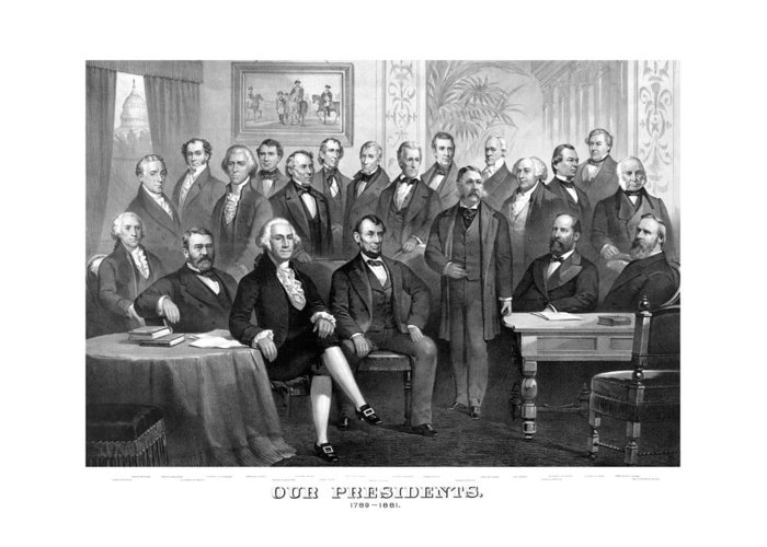 Us Presidents Greeting Card featuring the painting Our Presidents 1789-1881 by War Is Hell Store