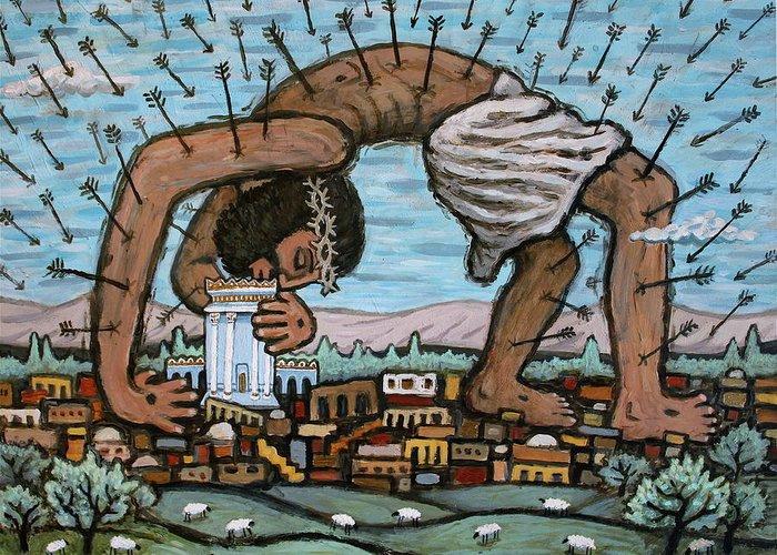 Jesus Servant Kiss Arrows Sacrifice Love Israel Jerusalem Sheep Shepherd Protection Bible Spiritual Folk Art Painting Savior Christian Beloved Beautiful Safe All Around Greeting Card featuring the painting Our Shelter by Jonathan Edward Shaw