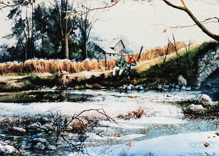 Farm Creek Painting Greeting Card featuring the painting Our Special Place by Hanne Lore Koehler