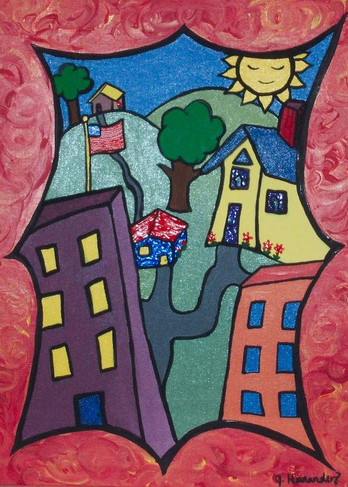 Greeting Card featuring the painting Our Town by Jennifer Hernandez