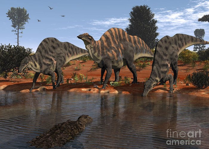Nature Greeting Card featuring the digital art Ouranosaurus Drink At A Watering Hole by Walter Myers