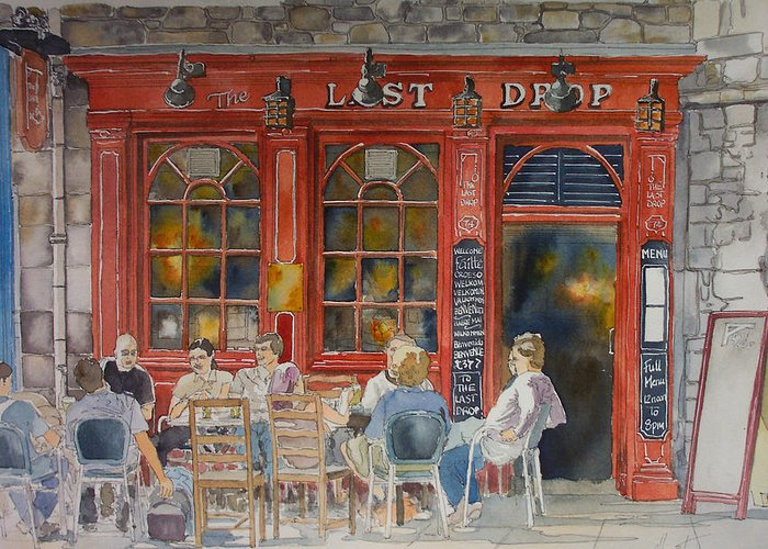 Pub Greeting Card featuring the painting Out For A Pint by Victoria Heryet